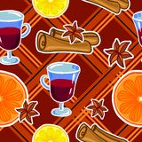 Mulled wine seamless pattern Royalty Free Stock Photos