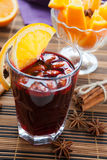 Mulled wine with slice of orange Stock Photo