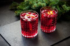Mulled wine with slice of orange royalty free stock photos