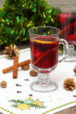 Mulled wine with slice of orange and spices. Christmas composition with hot spiced wine stock images