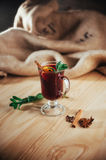 Mulled wine with slice of orange and spices. Shallow dof Royalty Free Stock Photo