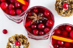 Mulled wine in small glasses with cranberries, anise and oranges. White background, top view Stock Images
