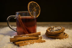 Mulled wine in the snow Royalty Free Stock Photo