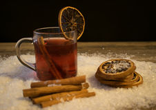 Mulled wine in the snow Royalty Free Stock Images