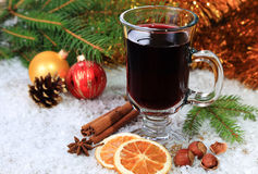 Mulled wine in the snow Royalty Free Stock Photos