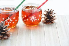 Mulled wine in snowflake glasses Royalty Free Stock Photography