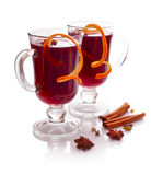 Mulled wine with species isolated on white background. Royalty Free Stock Images