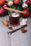 Mulled wine with spice and decoration Royalty Free Stock Image