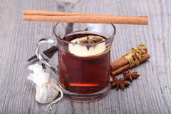 Mulled wine with spice and decoration Stock Image