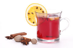 Mulled wine with spice and orange. On a white background Stock Photography