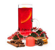 Mulled wine with spices and a candle Stock Photo