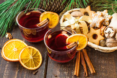 Mulled wine with spices Stock Image