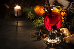 Mulled wine with spices and Christmas decorations horizontal Stock Images
