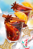 Mulled wine with spices for christmas Royalty Free Stock Images