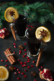 Mulled wine with spices Royalty Free Stock Images