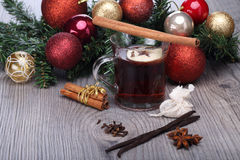 Mulled wine with spices and decoration Stock Images