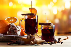 Mulled wine with spices and fruits Stock Image