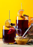 Mulled wine with spices and fruits Royalty Free Stock Image
