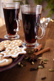 Mulled wine with spices Royalty Free Stock Photos