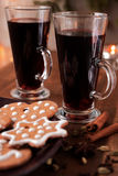 Mulled wine with spices Stock Photo