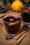Mulled wine with spices in glasses Royalty Free Stock Photo