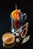 Mulled wine with spices and honey Stock Images