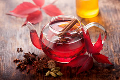 Mulled wine with spices. horizontal Royalty Free Stock Photography