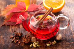 Mulled wine with spices. horizontal Stock Images