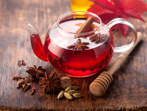Mulled wine with spices. horizontal Stock Image