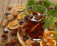 Mulled wine, spices and nuts Stock Photography