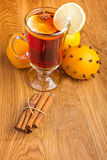 Mulled wine  with  spices and orange Stock Photography