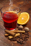 Mulled wine and spices Stock Photo