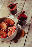 Mulled wine and spices on wooden background. Food photo. Fall. Selective focus. Romantic vintage style stock images