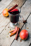 Mulled wine and spices on wooden background. Food photo. Fall. Selective focus. Romantic vintage style royalty free stock photos