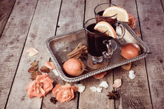 Mulled wine and spices on wooden background. Food photo. Fall. Selective focus. Romantic vintage style stock image