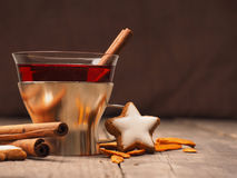 Mulled wine with star shaped cookies Stock Photo
