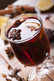 Mulled wine still-life. Mulled wine with lemon, star anis and cinnamon royalty free stock photography