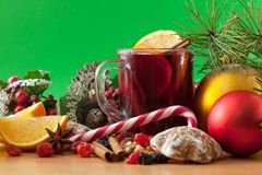 Mulled wine and sweets Stock Image