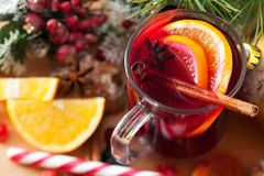 Mulled wine and sweets Royalty Free Stock Images