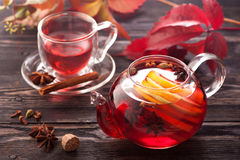 Mulled wine in a teapot. horizontal Stock Photo