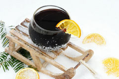 Mulled wine on toboggan Stock Photo