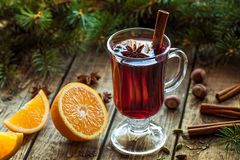 Mulled wine traditional hot spiced alcohol Stock Photos