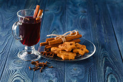 Mulled wine traditional hot spiced alcohol winter season beverag Royalty Free Stock Image