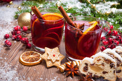 Mulled wine. Two glasses of  mulled wine with christmas decoration Stock Photos