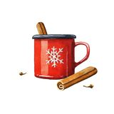 Mulled wine watercolor illustration Royalty Free Stock Image
