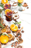 Mulled wine white background Hot red punch fruit and spices Stock Photo