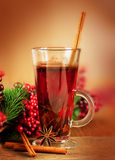 Mulled wine from wine and cinnamon Royalty Free Stock Images