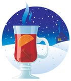 Mulled wine on the winter background Royalty Free Stock Images
