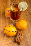 Mulled wine for winter and Christmas with  spices and orange Royalty Free Stock Image
