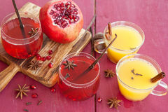 Mulled wine with winter spices Stock Photos